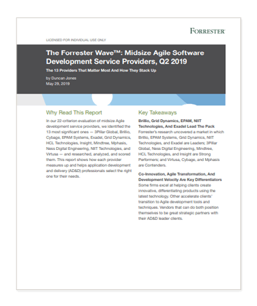 The Forrester Wave™: Midsize Agile Software Development Service Providers Q2, 2019 cover