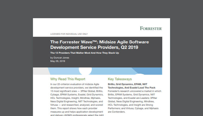 The Forrester Wave: Midsize Agile Software Development Service Providers Q2, 2019 cover