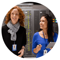 Two woman in server room