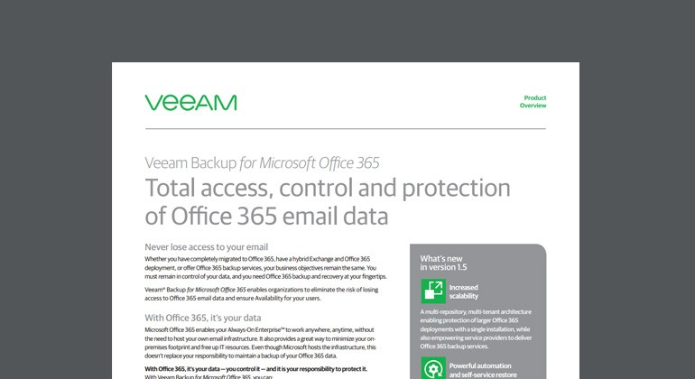 Thumbnail of Veeam ONE Datasheet Office 365 datasheet available to download below